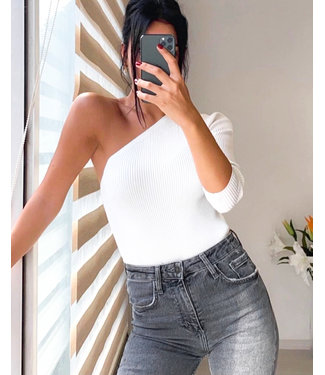 One Shoulder Top / White