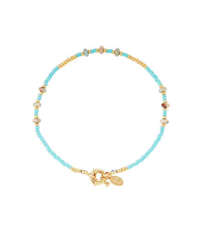 Colorful Beads Anklet / Blue