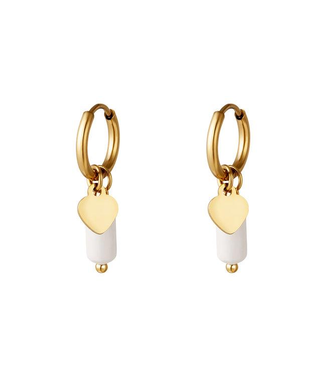 Heart Marble Stone Earrings