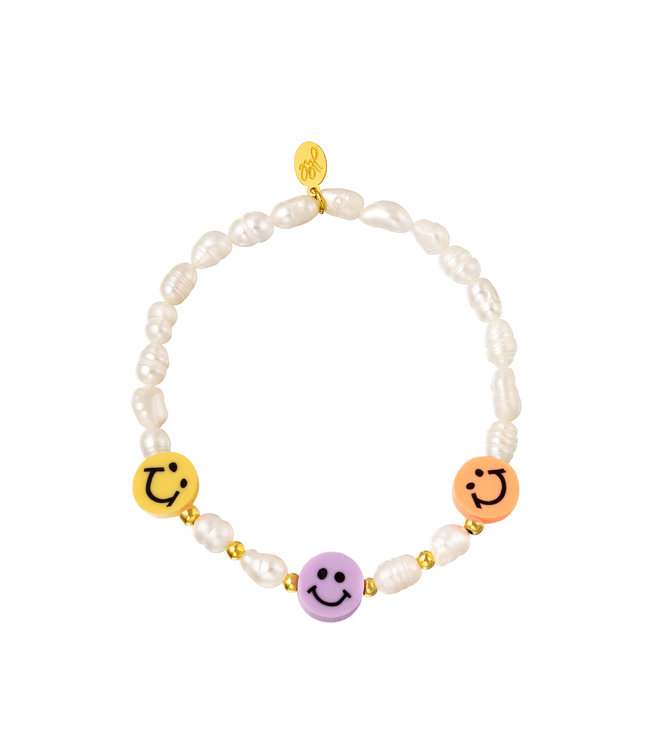 Smiley Pearl Beads Bracelet / Peach