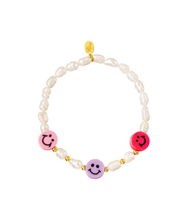 Smiley Pearl Beads Bracelet / Pink