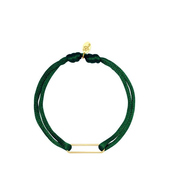 Satin Clip Bracelet / Dark Green