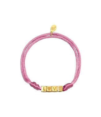 Satin Love Bracelet / Pink