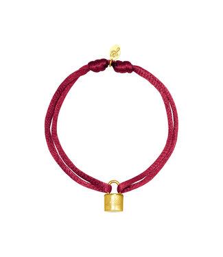 Satin Lock Bracelet / Burgundy Red