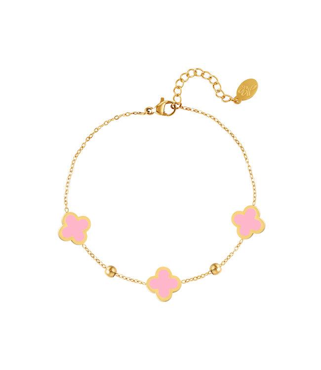 Lucky Clover Bracelet / Pink