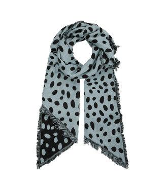 Leopard Dots Scarf / Steel Blue
