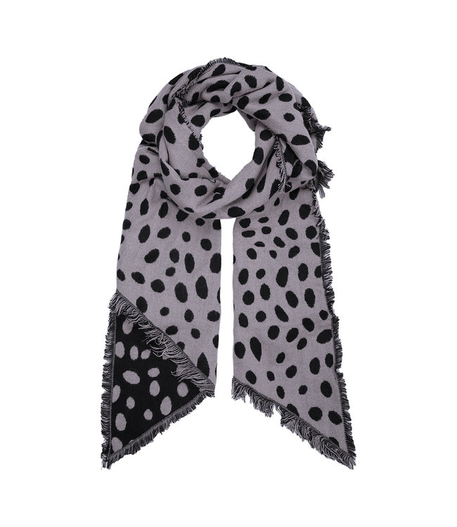 Leopard Dots Scarf / Grey