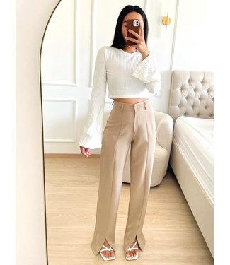 Wide Front Split Pants / Beige