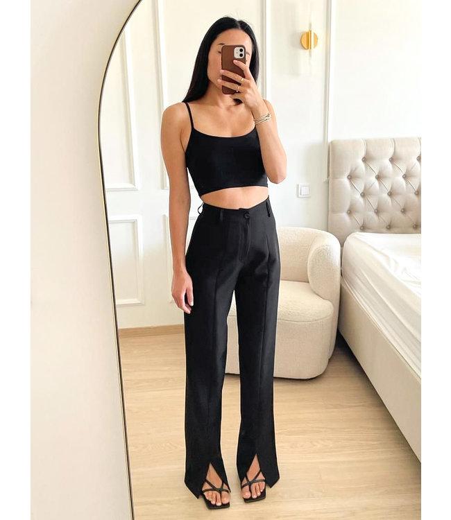 Wide Front Split Pants / Black