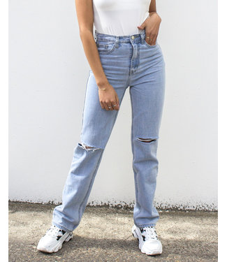 Straight Leg Cut Out Knee Jeans