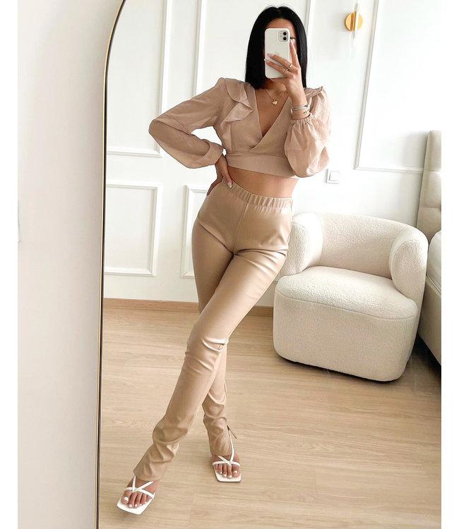 Leather Split Pants / Beige