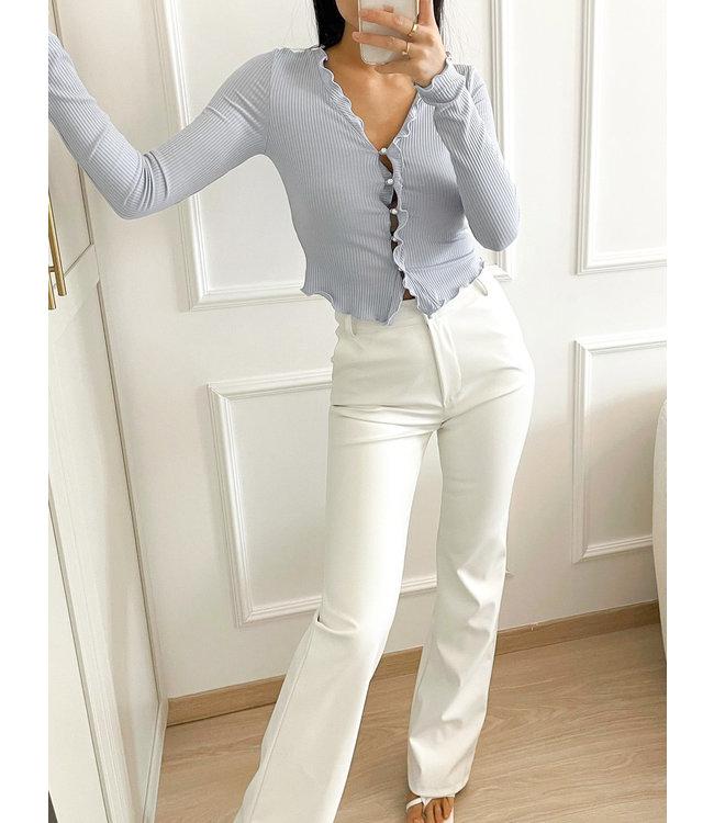 Straight Leg Leather Pants / White