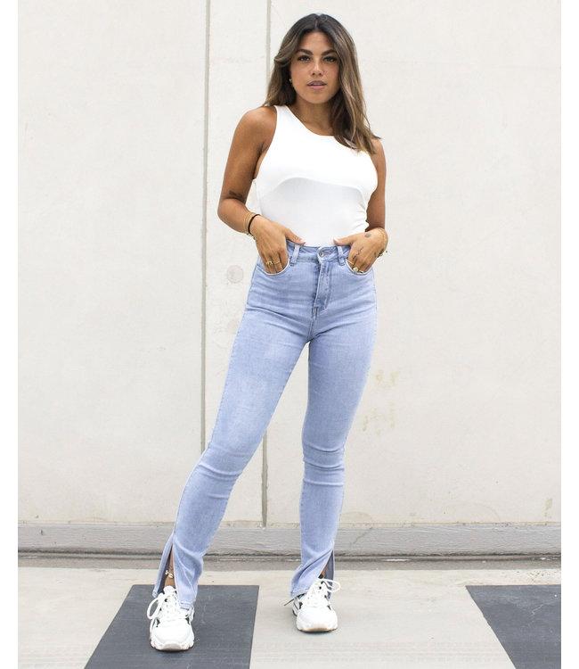 Slim Fit Split Jeans / Light Blue