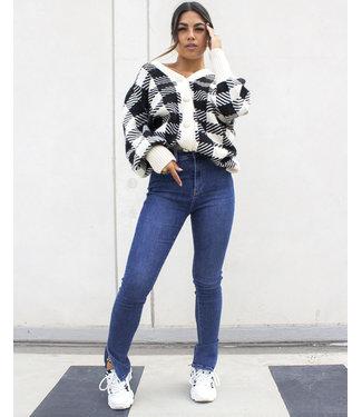Slim Fit Split Jeans / Dark Blue