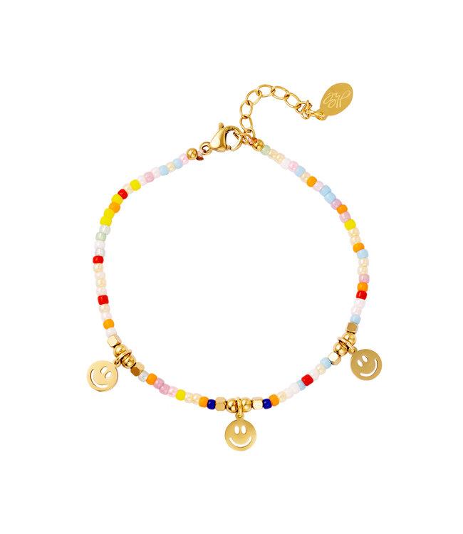 Rainbow Smiley Charm Bracelet