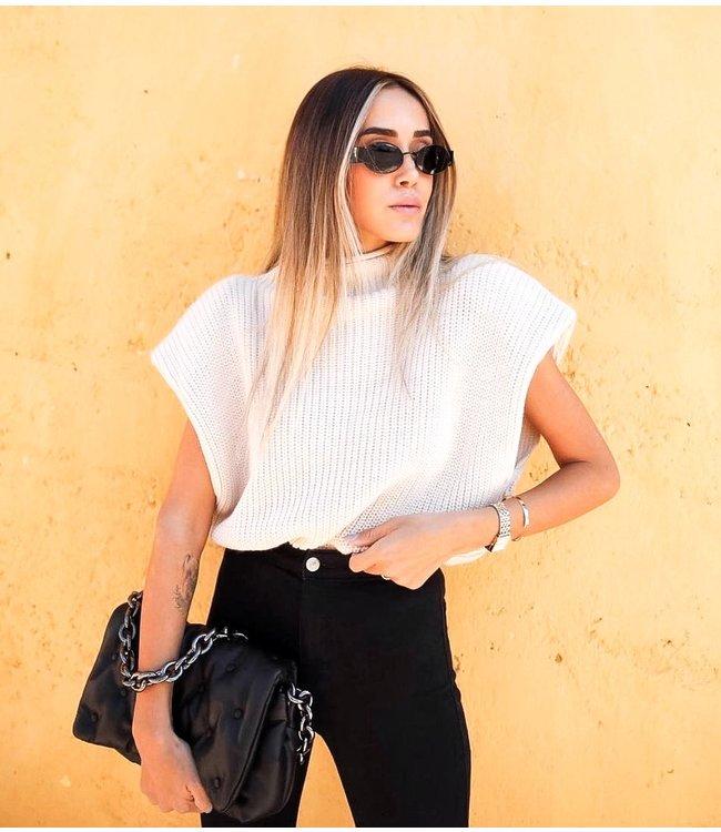 Knit Turtleneck Top / White