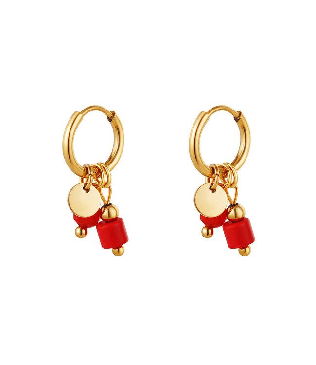 Coin Stone Earrings