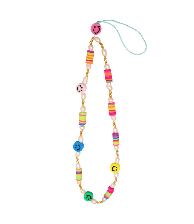 Colorful Smiley Beads Phone Cord / Multi