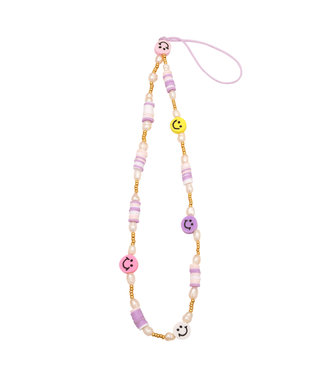 Colorful Smiley Beads Phone Cord / Lilac