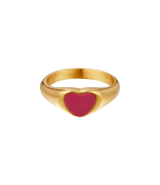 Colored Heart Signet Ring