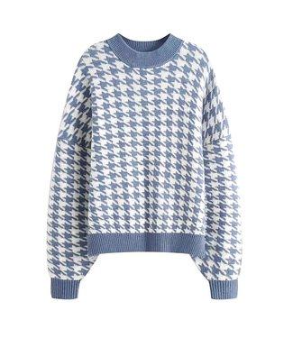 Pied de Poule Sweater / Blue