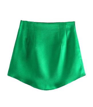 Silky Mini Skirt / Green