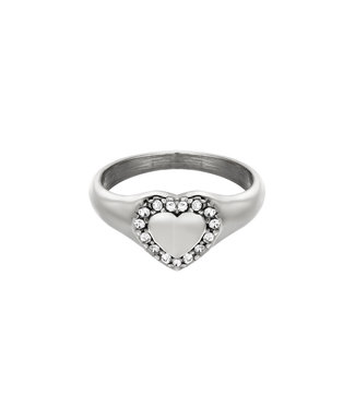 Silver Diamond Heart Ring