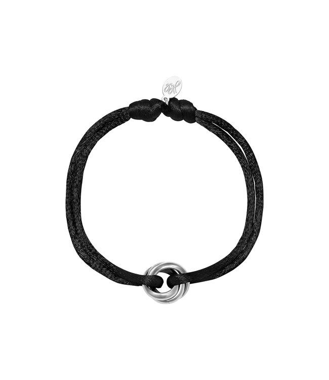 Silver Satin Knot Bracelet / Black