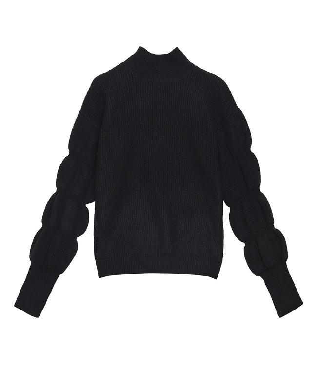 Puffed Sleeves Sweater / Black