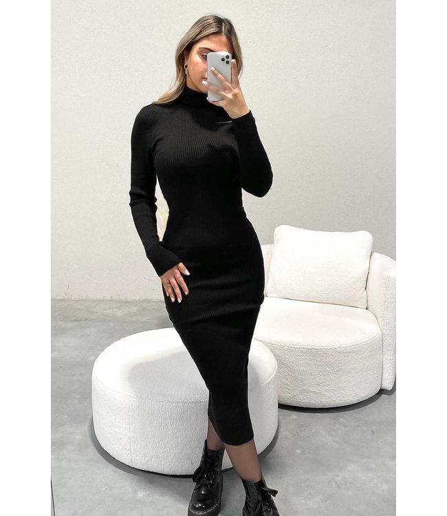 Ribbed Turtle Neck Dress / Black