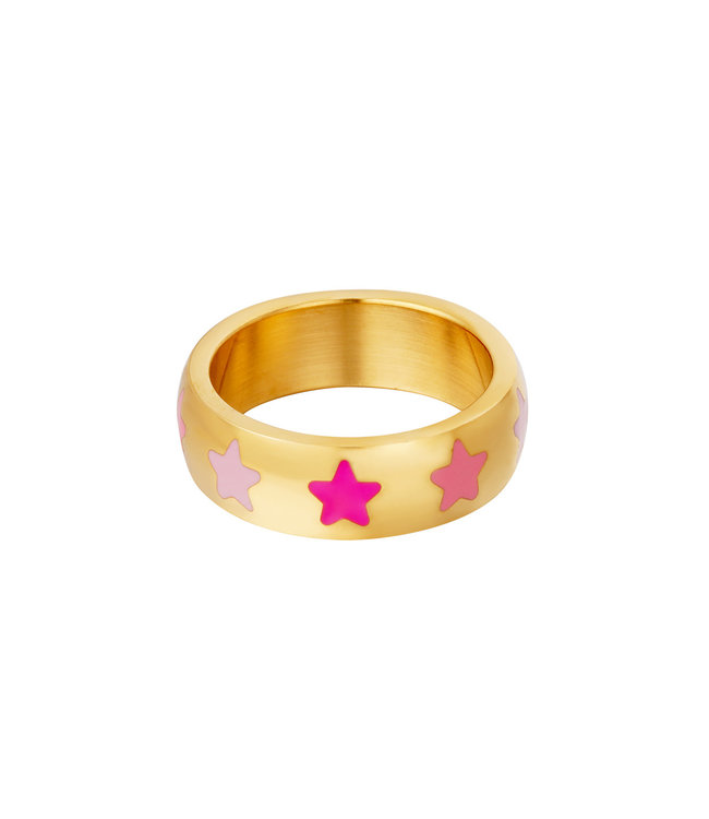Colorful Stars Ring / Pink