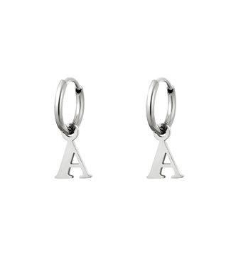 Silver Initial Earrings