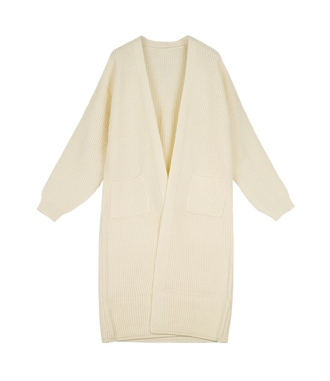 Knitted Long Cardigan / Off White