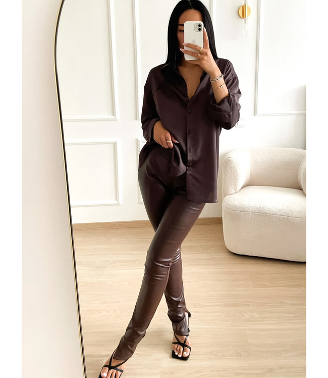 Leather Split Pants / Choco