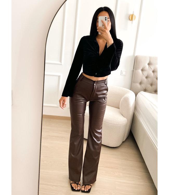Straight Leg Leather Pants / Choco