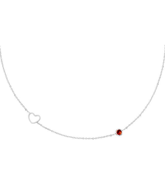 Silver Birthstone Necklace