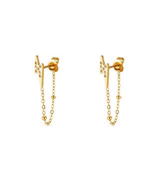 Thunderbolt Chain Stud Earrings