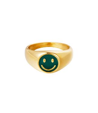 Smiley Signet Ring / Green