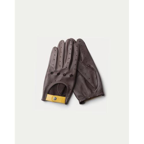 Café Leather Triton Driving Gloves Black Coffee