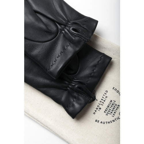 Café Leather Winter Dress Gloves Black