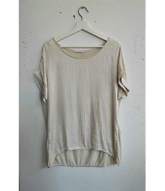 T-shirt silk front, Beige
