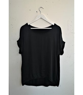 T-shirt silk front, Black