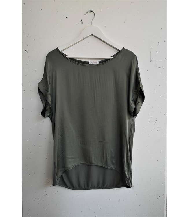T-shirt silk front, khaki
