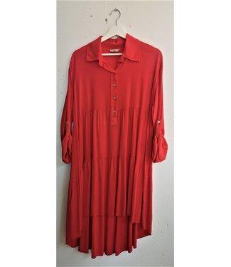 Midi dress, Koraal rood