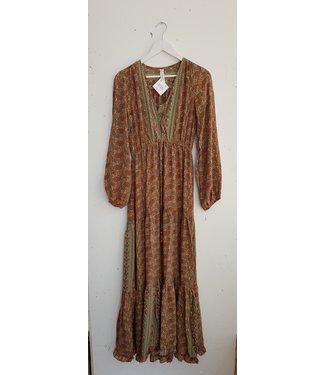 Dress long silk, Brown red