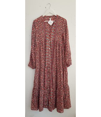 Dress long silk, Pink blue