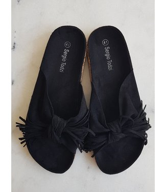 Slippers ruffles, Black