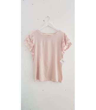 T-shirt lace sleeve, Pink