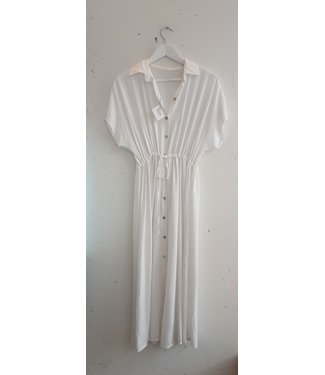 Dress long button, White