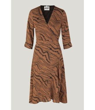 Just Female Celine wrap dress, Brown